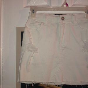 white Hollister Jean mini skirt